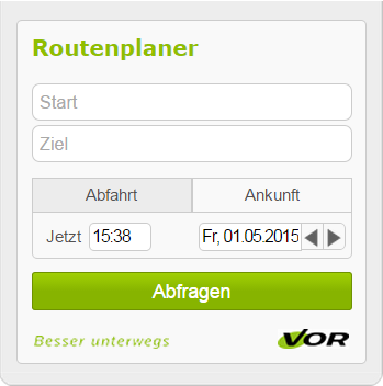 Public Transport Association Eastern Region (VOR): New route planner widget for websites